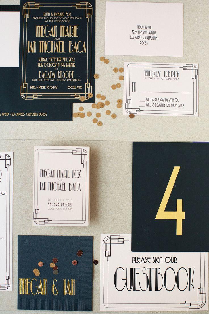 mini book wedding invitations uk%0A Art Deco Letterpress Wedding Invitation by Copper Willow   Photography   Diana McGregor   See more