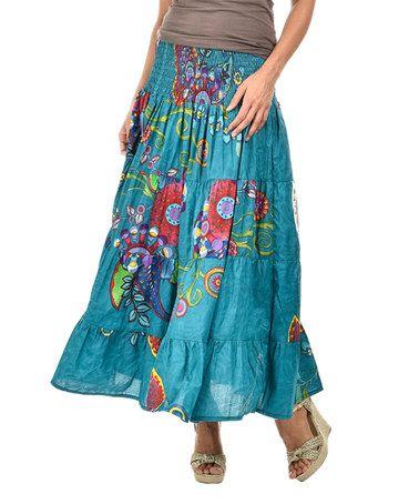 Love this Mallard Blue Convertible Mallard Floral Peasant Skirt on #zulily! #zulilyfinds