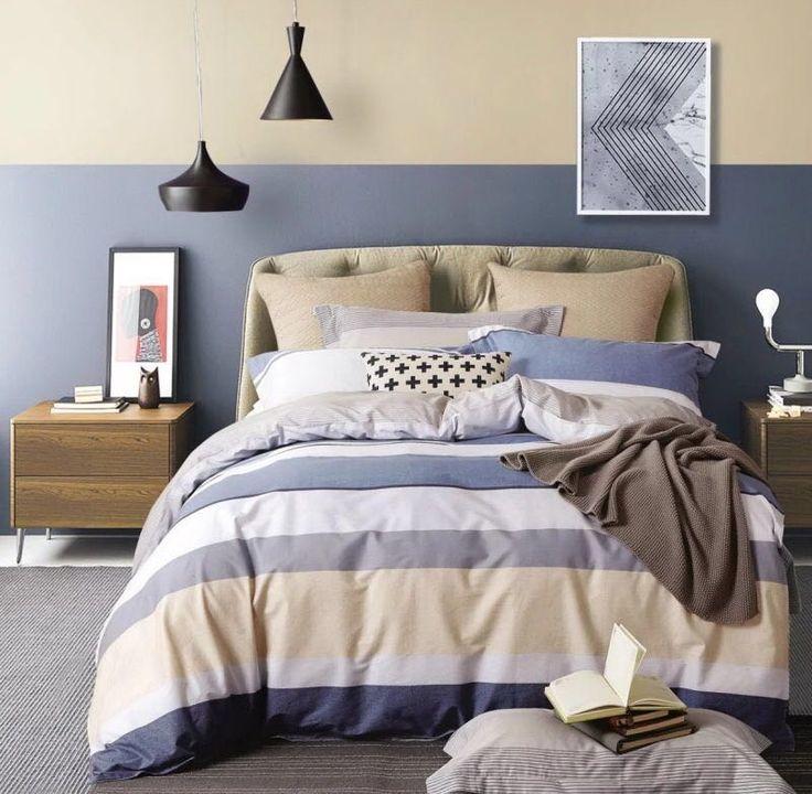 Pruhované posteľné obliečky sivej farby