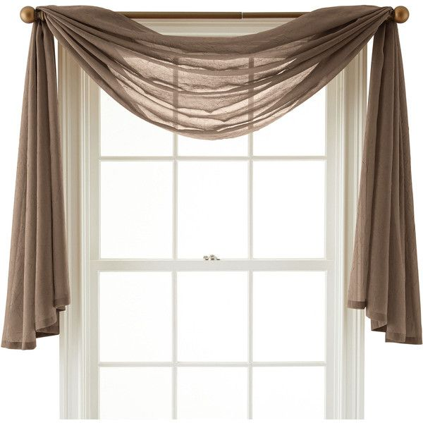 Royal Velvet Crushed Voile Scarf Valance (27 CAD) ❤ liked on Polyvore featuring home, home decor, window treatments, curtains, royal velvet, crushed voile panel, textured curtains, royal velvet curtains et royal velvet window treatments