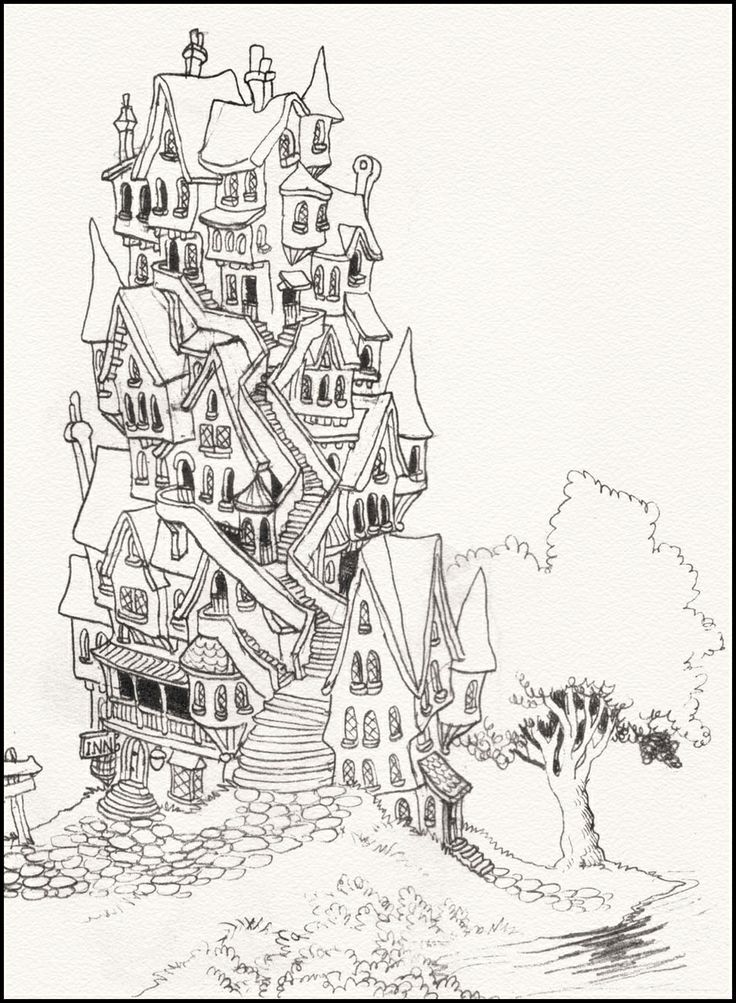 quirky houses coloring pages - photo#12
