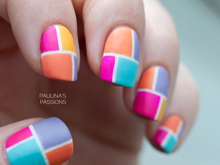 Best 25 color block nails ideas on pinterest subtle nail art color block nail art made with striping tape using four different colors prinsesfo Images