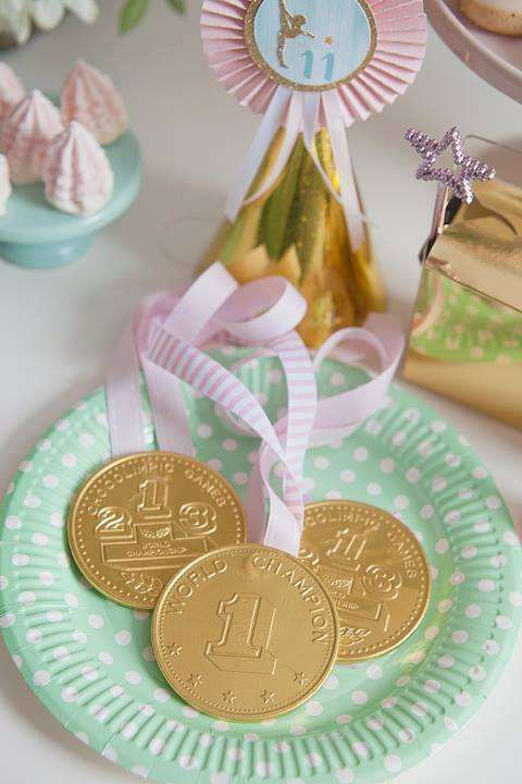 Mint and Gold Gymnastics Party by Little Big Company | CatchMyParty.com