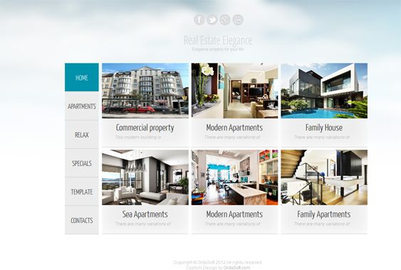 This Joomla real estate template features a responsive layout, demo content, a Bootstrap framework, cross-browser compatibility, new listing, map, and slideshow components, a modern design, and more.