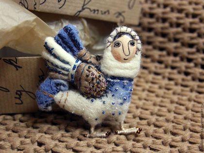 """Brooch handmade. Fair Masters - handmade. Buy felting brooch """"bird Sirin"""". Handmade. Blue, handmade"""