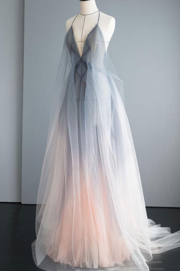 Gray tulle long prom dress gray tulle formal dress