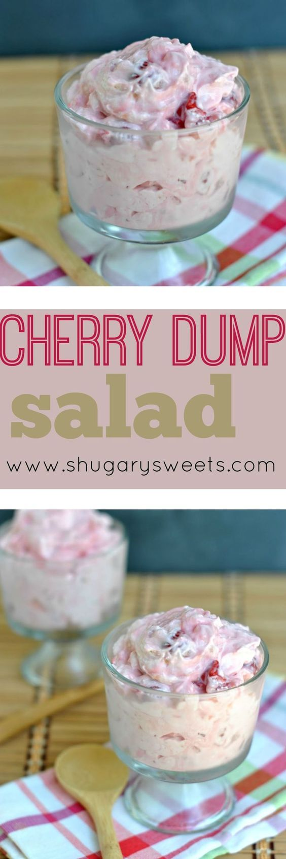A side dish for your next potluck or BBQ. Seriously, take your 4 ingredients, dump them in a bowl, and allow to set. Easy peasy Cherry Dump Salad.