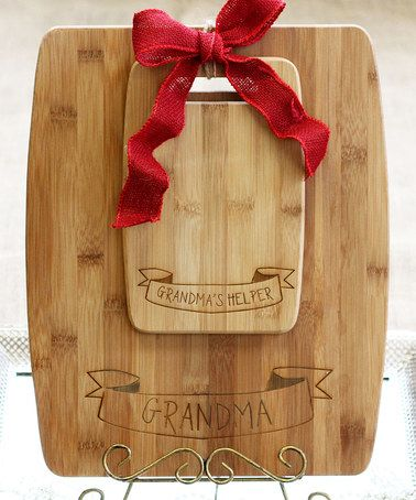 Loving this 'Grandma's Helper' Personalized Bamboo Cutting Board Set on #zulily! #zulilyfinds