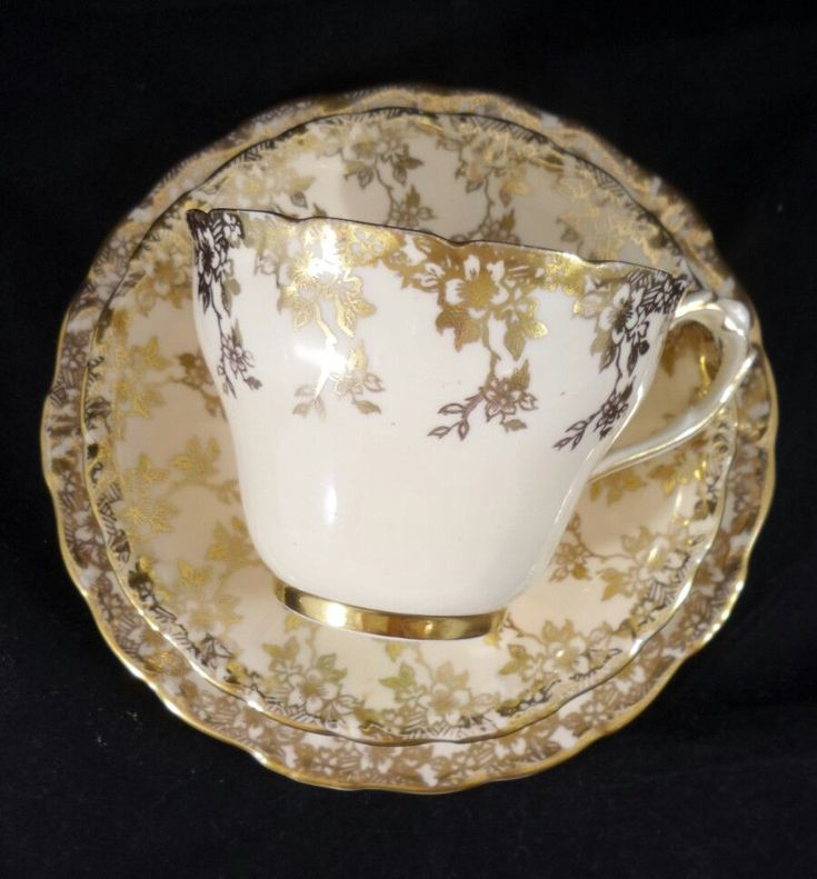 Vintage Paragon Beige Heavy Gold Floral motif teacup trio England in Pottery, Glass, Pottery, Porcelain, Paragon | eBay!
