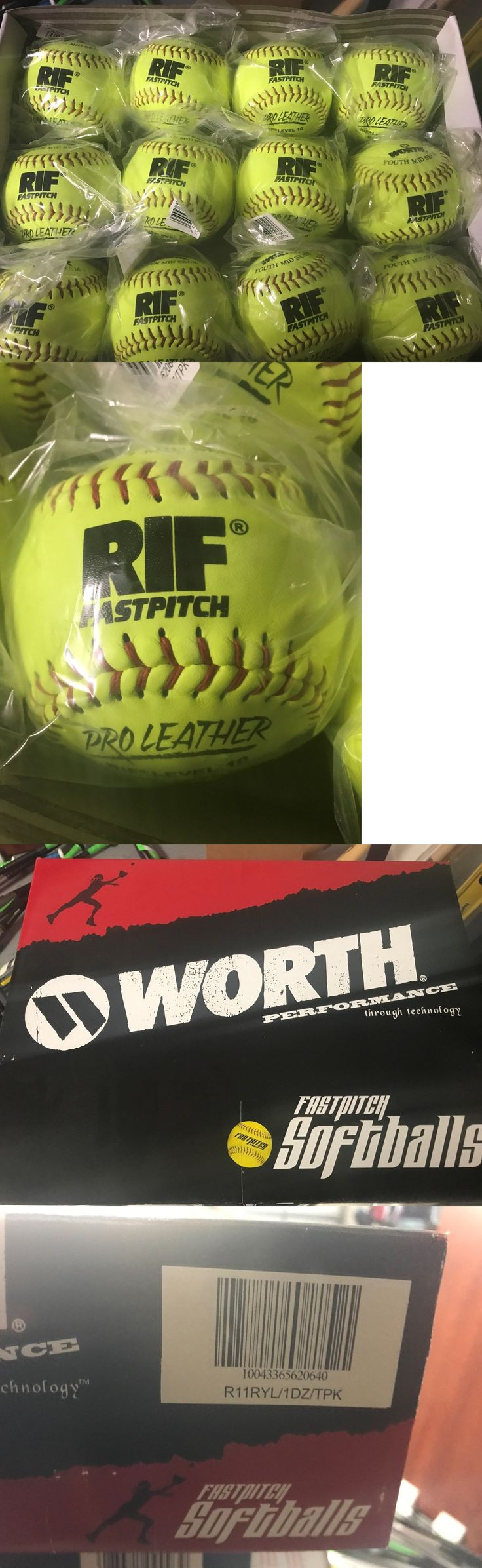 Softballs 16064: Worth Rif 11 Leather Softball Cor.47 - Yellow Pro Leather R11ryl New Sealed -> BUY IT NOW ONLY: $45.99 on eBay!