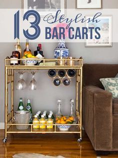 13 Stylish Bar Carts - Stash extra glassware on a bar cart when it's not on the table.