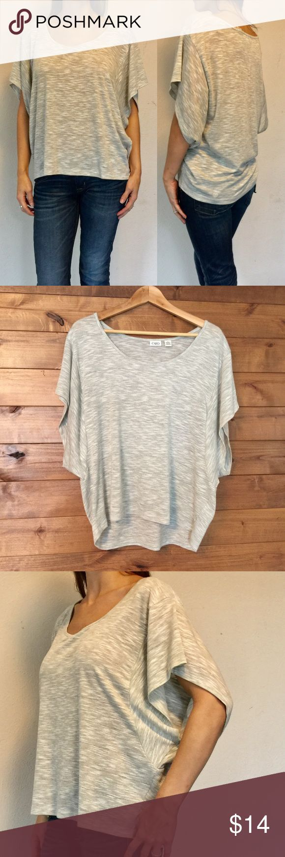 "Cato Slouchy Batwing Top sz M-L Heather Gray Batwing Sleeve Slub Knit Tee with high low Hem. Hint of metallic in fabric. Size large but fits like a medium therefore listed as such. Excellent condition. Great fit. Length: 24"" - 26"" Bust: 19"" Cato Tops"