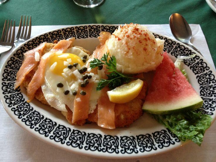 Simple schnitzel served with applesauce at Lake Shore Salzburger Hof Resort in Batchawana Bay. #algomacountry