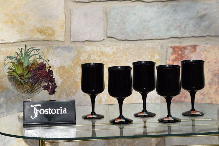 Vintage Black Onyx Wine Glasses, Vintage Fostoria Black Wine Glasses, Set of 5, Mad Men, Bar Cart Decor, Elegant Black Wine glasses by Antiquevintagefind on Etsy