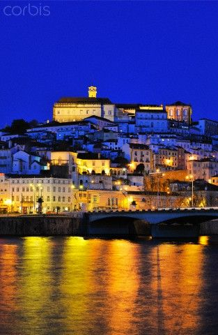 Coimbra and the Mondego river at sunset. Portugal
