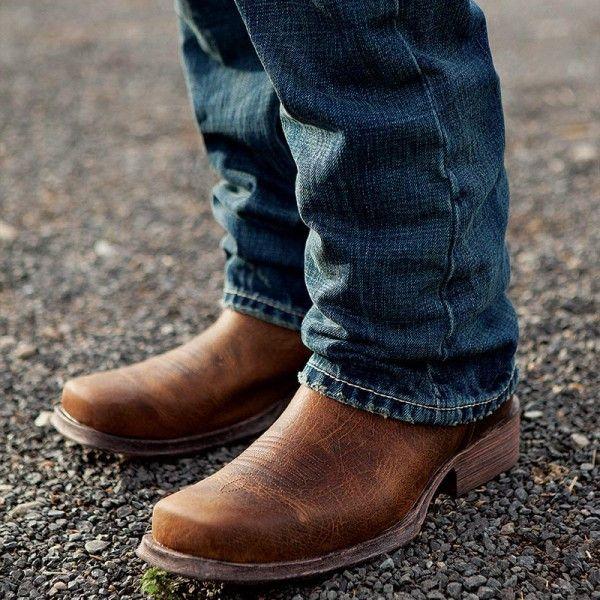 Mens cowboy boots black square toe