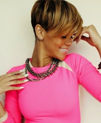 Stylish Short Hairstyles for African American Women: Rihanna Short Cut