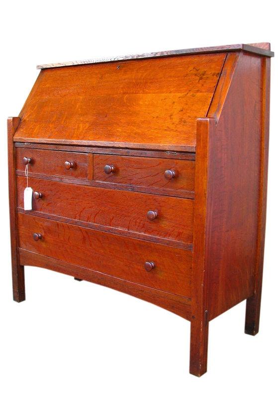 Fall Front Desk ~ Superb antique l jg stickley large drop front desk mission