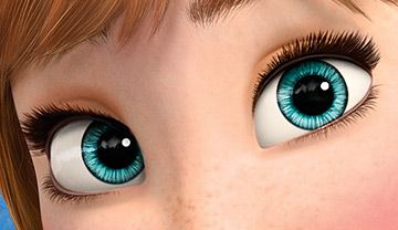 Anna's eyes. Notes: eyes are aqua, eyeshadow is golden brown, eyelashes are very thick on top