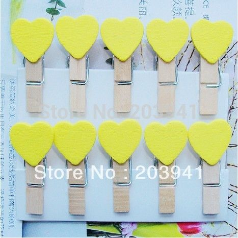15packs/lot New yellow Wooden Paper Clip wood pegs Mini Bag Clip wedding Special Gift prize wholesale