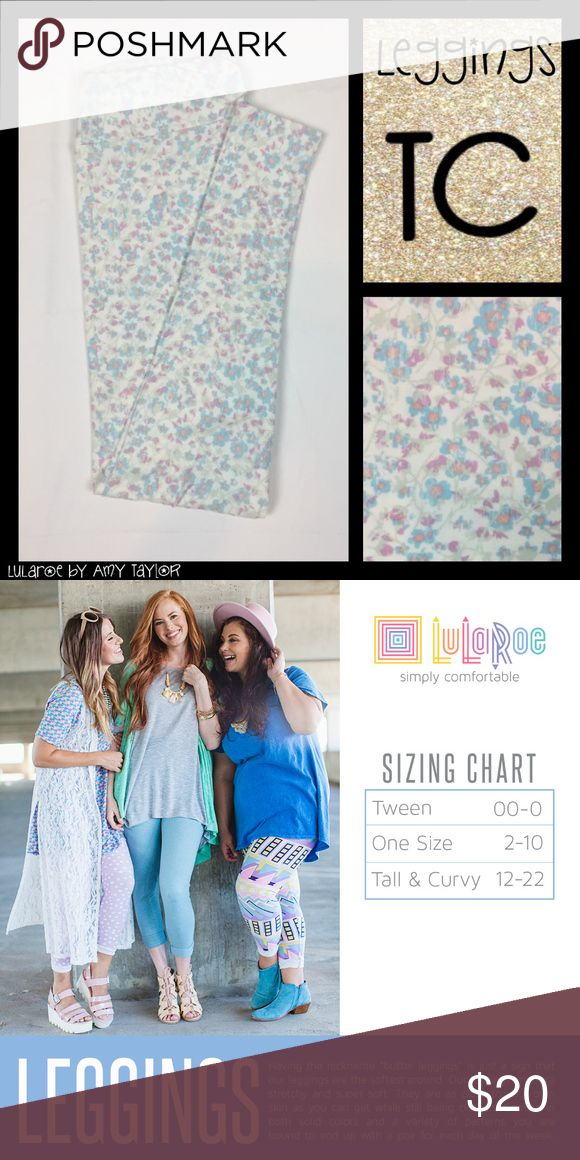 NWT LuLaRoe Leggings - Floral - TC Buttery soft LuLaRoe Leggings with gorgeous blue, pink, lavender, and light grey floral print on a white background. BNWT! Size TC (fits sizes 12-22 per LLR sizing). Please let me know if you would like tags in your package as LLR does not attach tags to their leggings and only supplies one tag per two pairs of leggings. Thanks!  Ex-retailer just trying to sell my remaining inventory and recoup some of my investment. Smoke-free, pet-friendly home. <3…