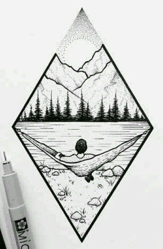 Berglandschaft # Kunst #Zeichnung #Abbildung #Wald…