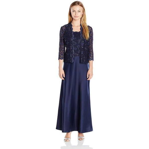 Alex Evenings Women's Two Piece Dress with Lace Jacket Petite ($209) ❤ liked on Polyvore featuring dresses, two piece formal dresses, blue long dress, formal dresses, long cocktail dresses and petite cocktail dress