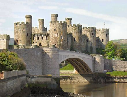 Conwy Castle (Welsh: Castell Conwy) is a medieval fortification in Conwy, on the north coast of Wales. It was built by Edward I, during his conquest of Wales, between 1283 and 1289.