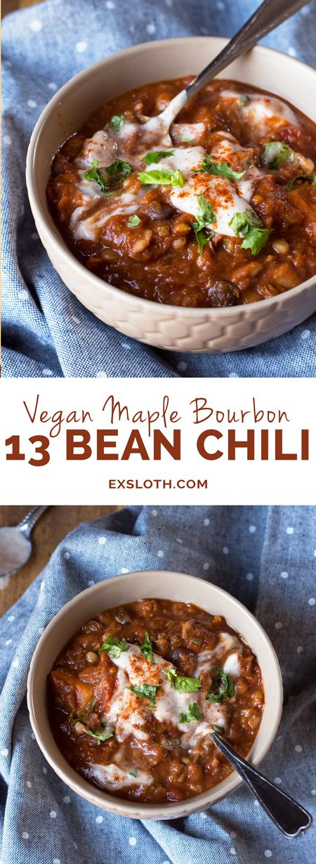 Vegan Maple Bourbon Chili (made with 13 bean soup mix and maple water) via ExSloth.com