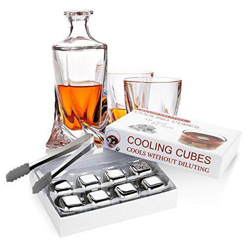 Vsllcau Pierre Whisky, Glaçon Whisky Ice Cube en Inox Réutilisable de Qualité Alimentaire pour Cocktails / Vodka / Bière / et Autres…