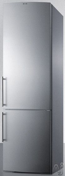 Summit FFBF181SS 24 Inch Counter Depth Bottom-Freezer Refrigerator with 12.5 cu. ft. Capacity, Spillproof Glass Shelves, Crisper Drawer, Open Door Alarm, High Temperature Alarm and Wine Rack: without Ice Maker