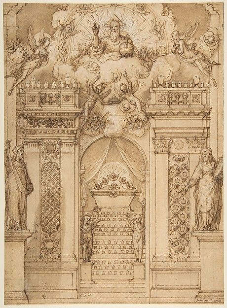 "Federico Zuccaro (Federico Zuccari), c.1540/1541-1609, Italian, Design for a ""Quarantore"" Decoration, 1540-1609.  Pen and brown ink, brush and brown wash, highlighted with white, over traces of black chalk, 38.9 x 28.5 cm.  Metropolitan Museum of Art, New York.  Mannerism."