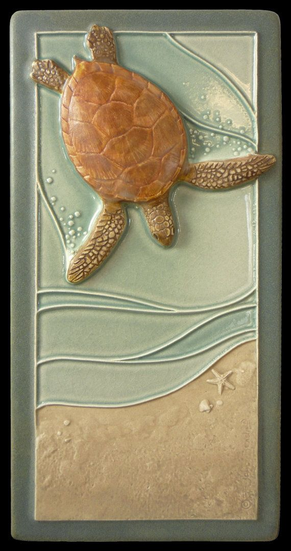 Sea turtle, Art tile, Ceramic sculpted tile, Mother to be, 4x8 inches  Green sea turtle