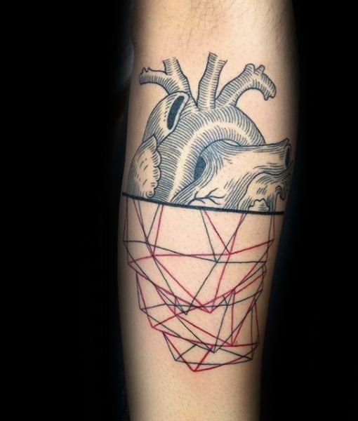 Red And Black Ink Lines Geometric Heart Artistic Mens Tattoo Ideas