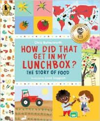 This book teaches the steps of how the food in their lunchbox is produced and processed.  Pictures and text illustrate the steps for bread, cheese, tomatoes, apple juice, carrots, chocolate, and a clementine.  It also teaches about food groups and making healthy eating choices.