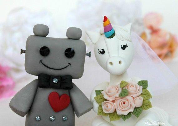 Robot and Unicorn wedding cake topper fantasy cake by PerlillaPets