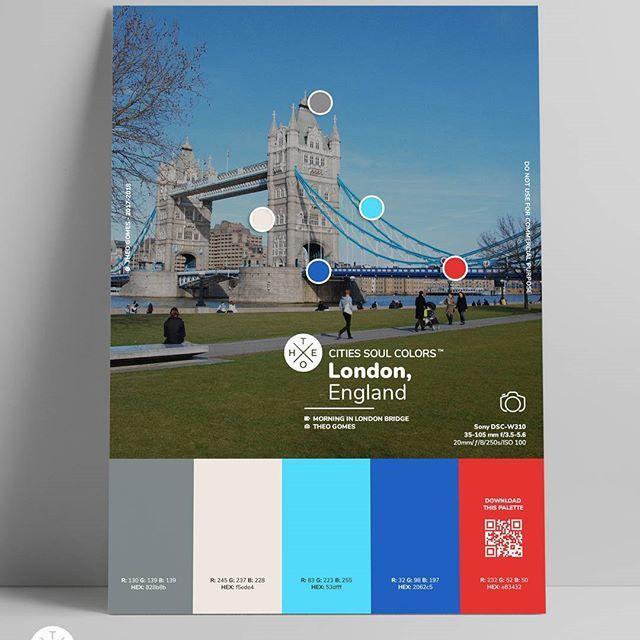 8 - pôster da série Cities Soul Colors™ - Foto: @theogomesn - Manhã na Ponte de Londres, Londres, Inglaterra.