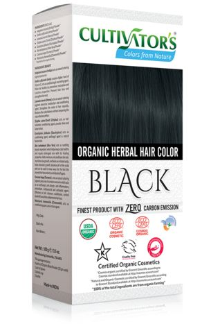 Organic Herbal Hair Color - Black Natural black hair dye with 100% organic and chemical free ingredients for natural and healthy hair.