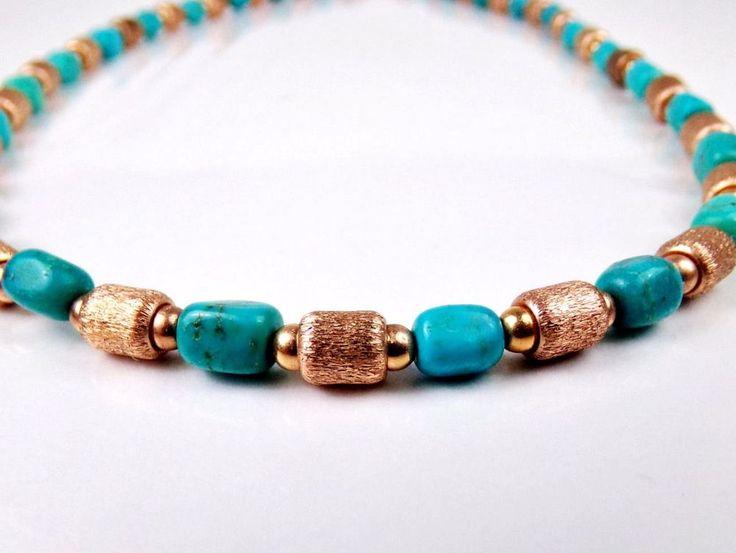 QVC Bronze Milor Italy Bronzo Italia Turquoise & Satin Bead Necklace Jewelry  #BronzoItalia #StrandString