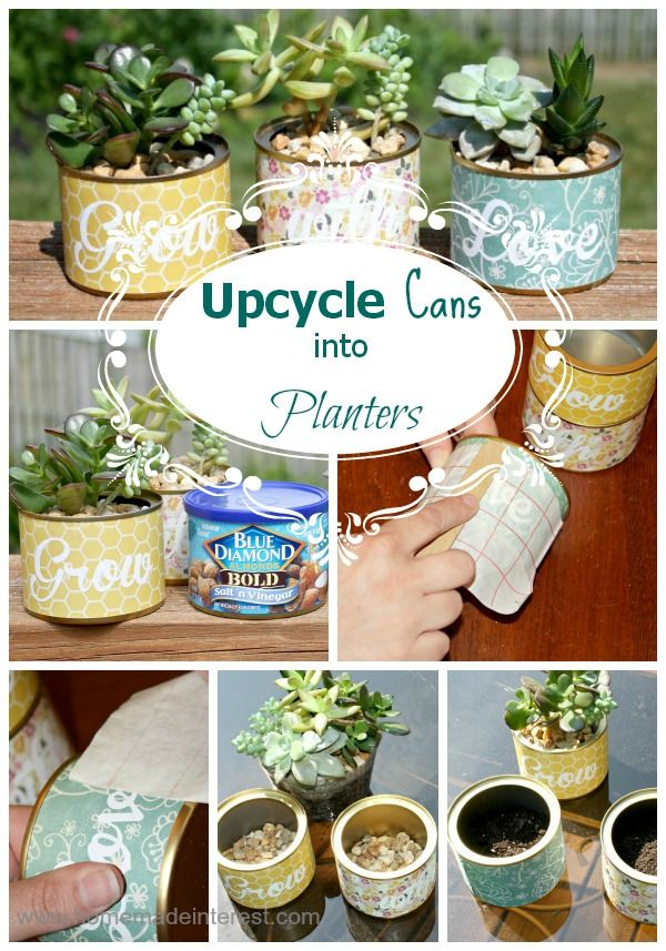 Upcycled your old cans into succulent planters {www.homemadeinterest.com} Home.Made.Interest. #flower #pot #planter #succulent #upcycle #krylon @krylonbrand