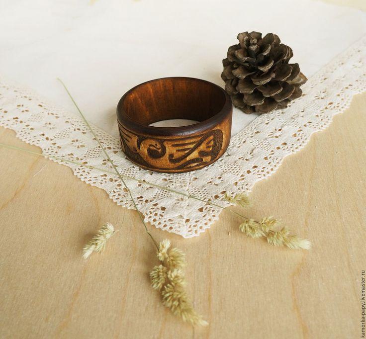 """Купить """"Кельтский дракон"""" - резной браслет из дерева - украшения ручной работы, экостиль, эко стиль"""