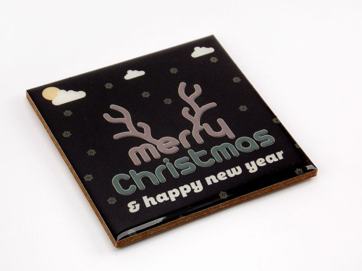 Merry Christmas Happy New Year Black Color Drink Coaster Unique Gift Wood Osarix