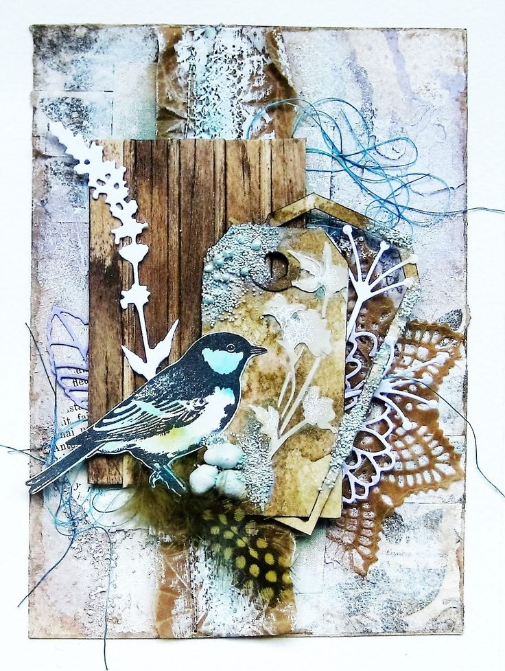 Summer song mixed media art card by Sanda Reynolds www.artfulflight.com