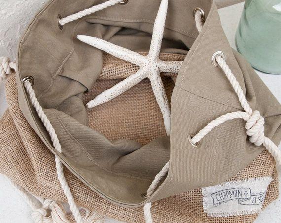 Khaki Canvas Tote Large Beach Bag Shopper Tote af theAtlanticOcean
