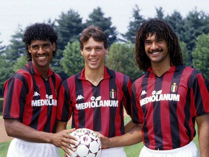 Top soccer players, Frank Rijkaard, Marco van Basten, Ruud Gullit.
