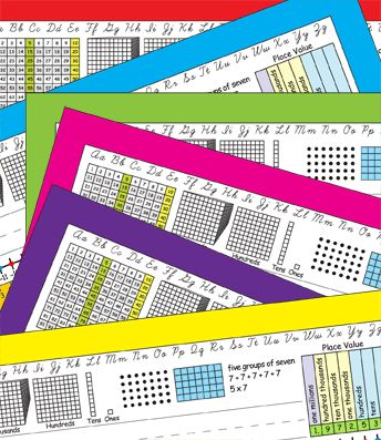 3rd Grade Common Core Desk Plates in six colors — number grid to 120, place value, arrays, and more!