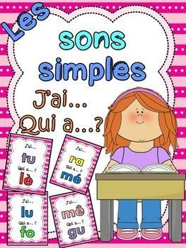 """Les sons simples - jeu """"j'ai... qui a...?"""". Jeu intéractif de 27 cartes pour pratiquer les sons simples du français tout en s'amusant!"""