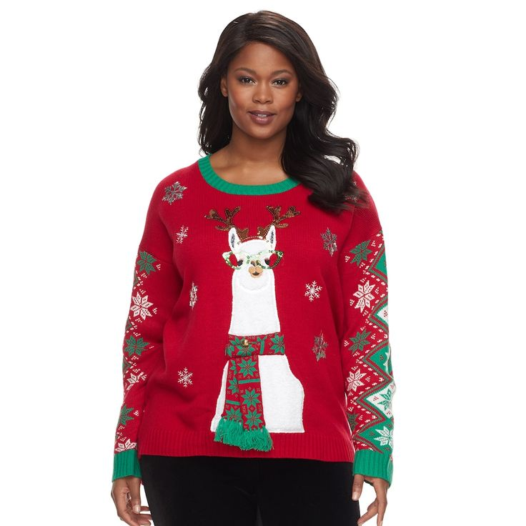 Plus Size Fashion Avenue US Sweaters Applique Ugly Christmas Sweater, Women's, Size: 2XL, Red Other