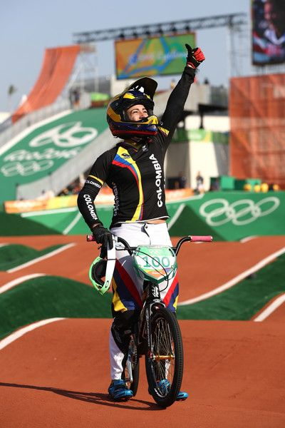 Mariana Pajon of Colombia celebrates after winning the gold during the Women's Final on day 14 of the Rio 2016 Olympic Games at the Olympic BMX Centre on August 2016 in Rio de Janeiro, Brazil. Rio Olympics 2016, August 19, Rio 2016, Olympic Games, Bmx, Brazil, Centre, Celebrities, Gold