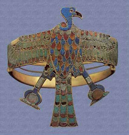 Vulture Bracelet/Queen Ahhotep I, ca 1560-1530 BC, during the end of Dyn 17. She was the mother of Ahmose I, the first ruler of Dyn 18. Bracelet made w/gold, inlaid w/lapis lazuli, carnelian & turquoise. Egyptian Museum Cairo